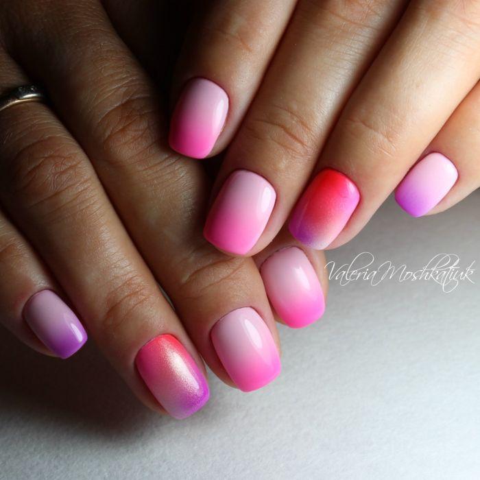 Фиолетовый маникюр с розовым градиентом