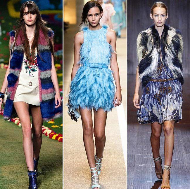 Модные тенденции (тренды) весна / лето 2015: весенний мех и перья