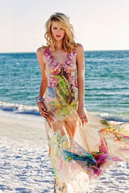 Пляжное платье расшитое бисером и паетками
