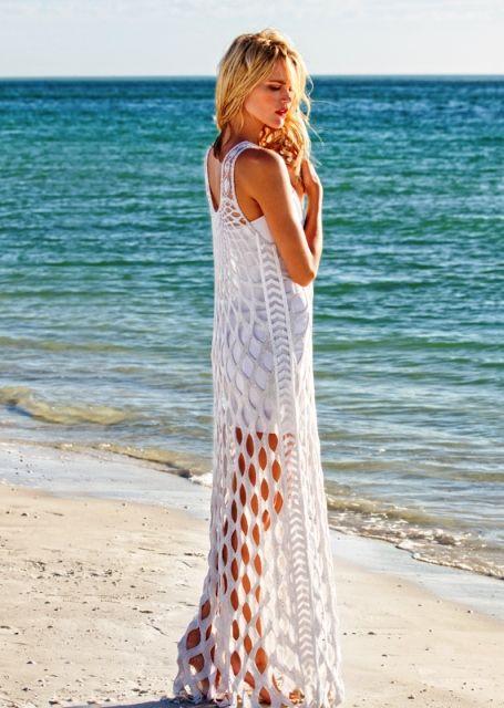 Пляжное платье-сетка