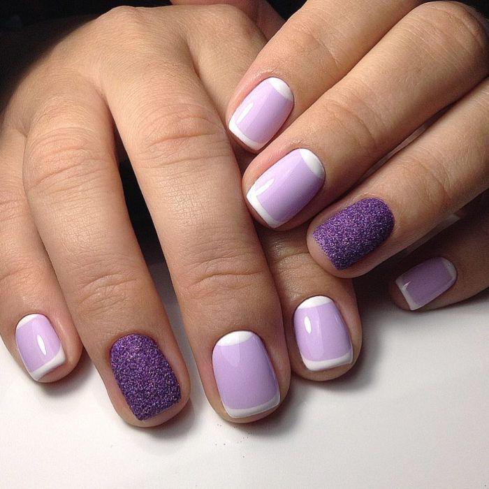 Фиолетовый французский маникюр