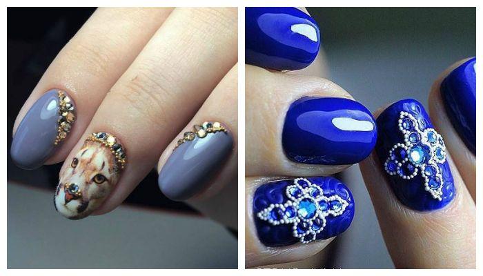 Дизайн ногтей микробисером и стразами