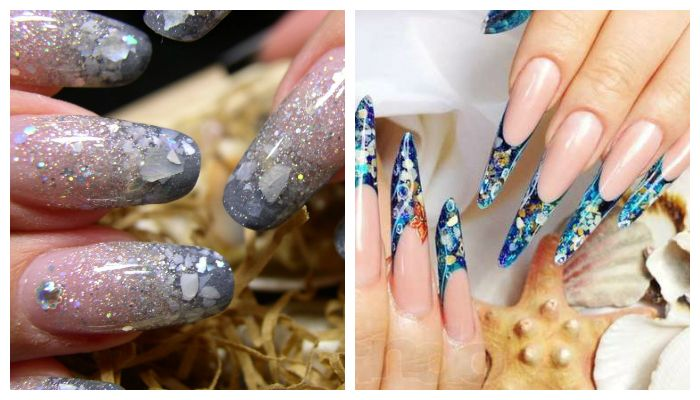 Аквариумный дизайн ногтей с ракушками