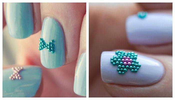 Дизайн ногтей: маникюр с бульонками или микробисером
