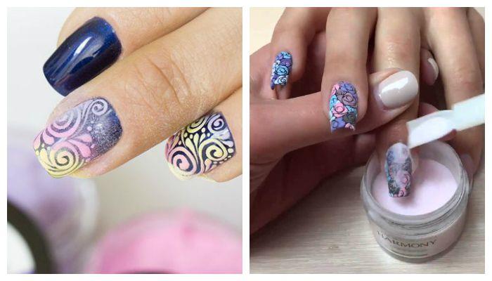 Дизайн ногтей с акриловым песком