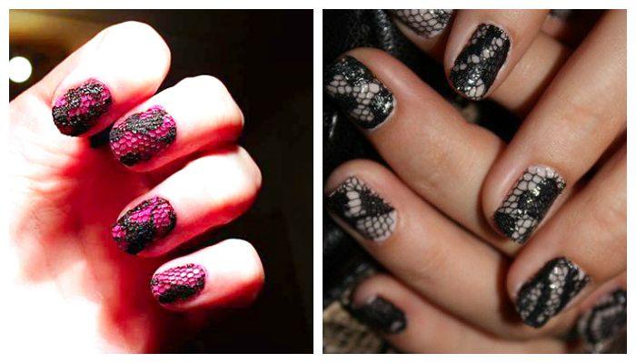 Дизайн ногтей: маникюр с текстильным кружевом