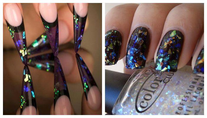 Дизайн ногтей: маникюр со слюдой