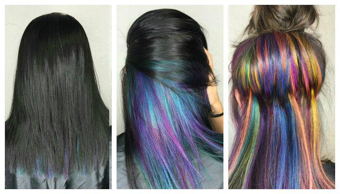 Радужное колорирование волос, фото