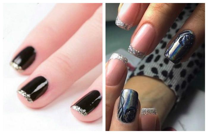 Французский маникюр с блестками на кончиках ногтей