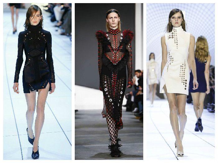 Модные платья с металлической фурнитурой в коллекциях Mugler и Proenza Schouler