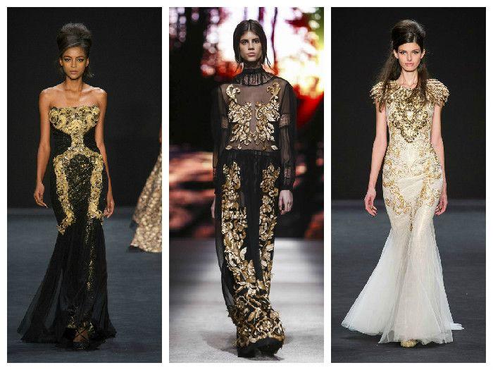 Модные платья в стиле барокко Badgley Mischka и Alberta Ferretti