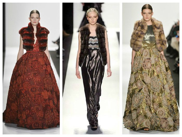 Коллекция осень-зима Dennis Basso: сочетание платьев и меховых жакетов