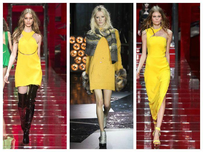 Модные платья желтого цвета в коллекциях Versace и Zadig & Voltaire