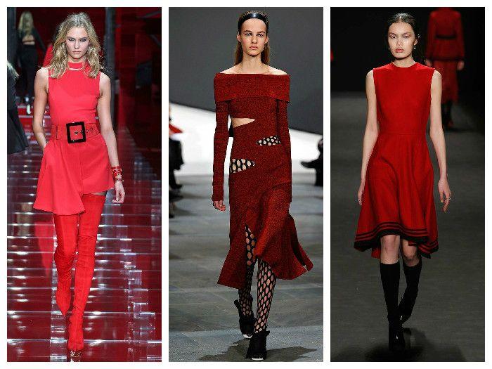Все оттенки красного в коллекциях модных платьев Proenza Schouler, Vivienne Tam, Versace