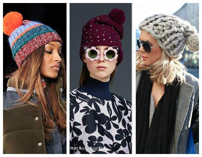 Вязаные женские шапки с помпоном