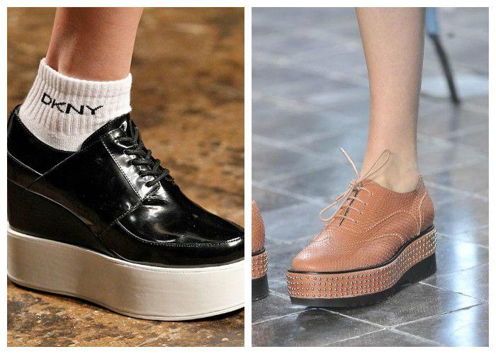 Модная обувь весна: ботинки на платформе