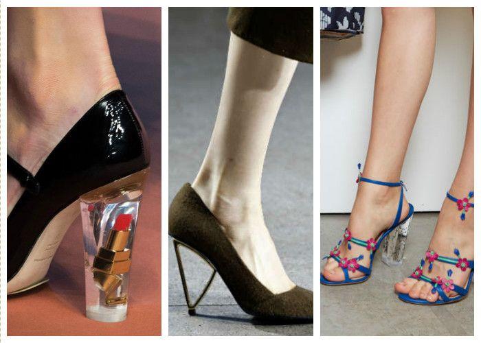 Модная обувь: прозрачный или металлический каблук