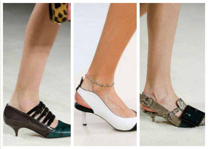 Модная обувь лето: низкая шпилька
