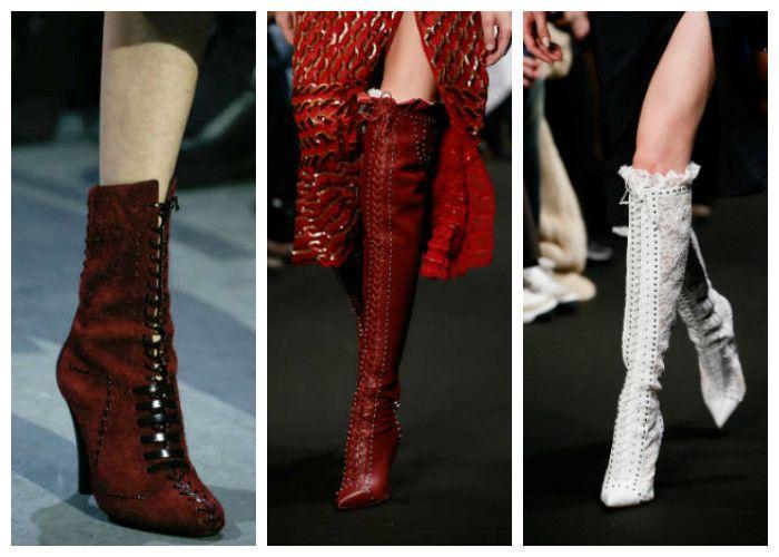 Модная обувь весна: сапоги со шнуровкой