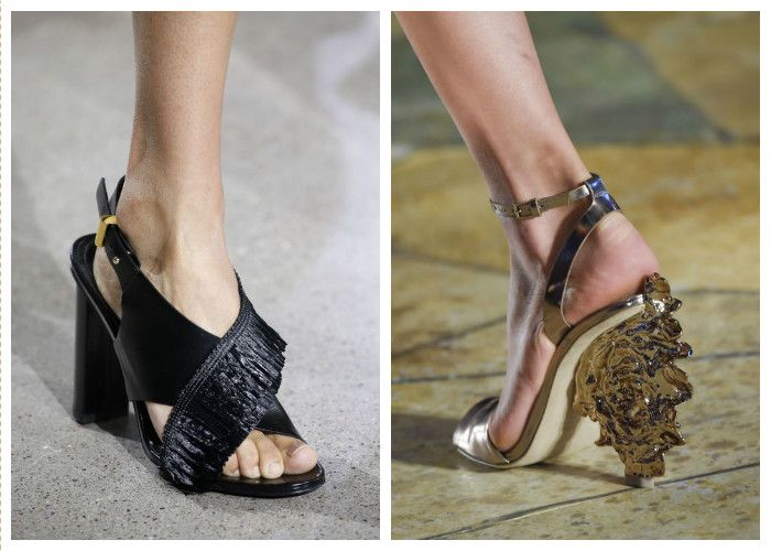 Обувь 2016: сочетание модных тенденций. Необычный каблук и бахрома.