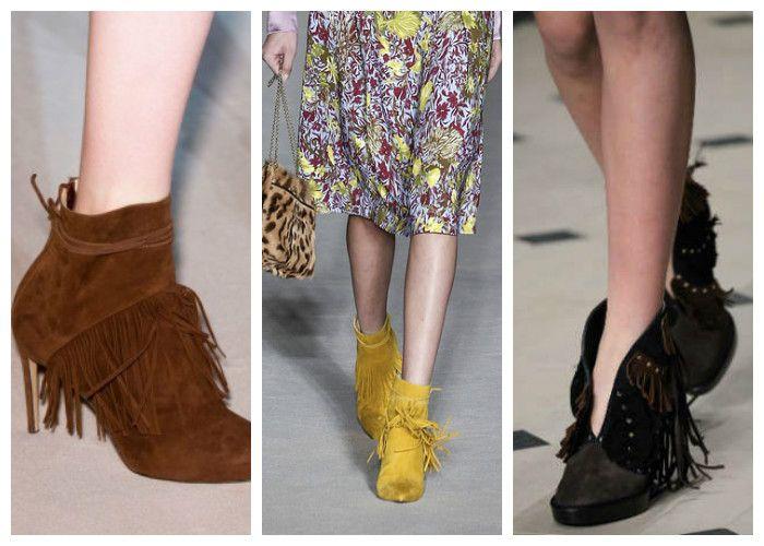 Модная обувь весна: сапоги и ботильоны с бахромой
