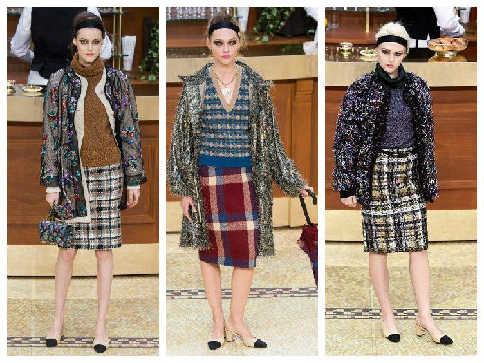 Модные клетчатые юбки в коллекции Шанель