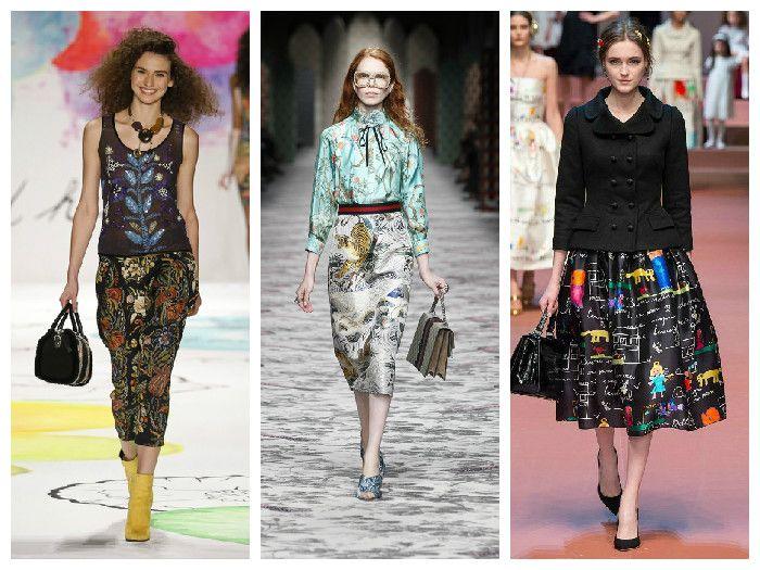 Модные юбки 2016 с необычным принтом