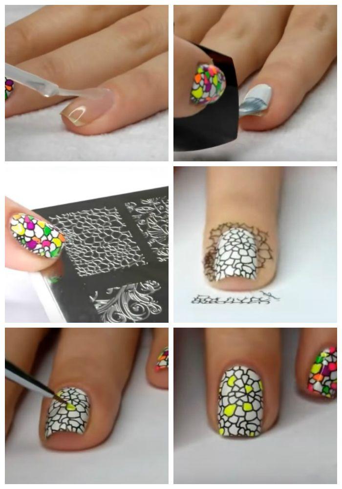 Пошаговое фото выполнения дизайна коротких ногтей