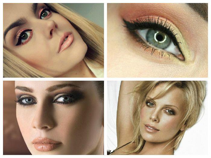 Новогодний макияж для зеленых глаз: персиковые и коричневые оттенки