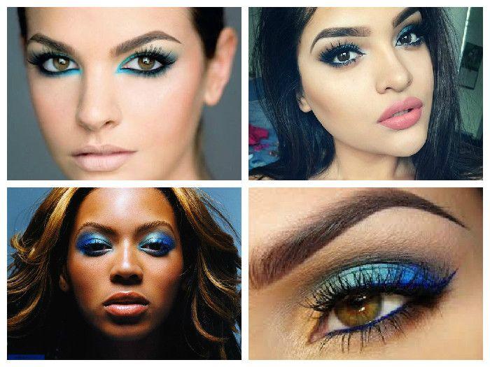 Новогодний макияж для карих глаз: синие тени