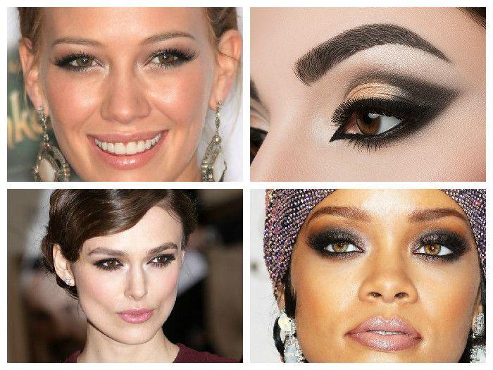 Новогодний макияж для карих глаз