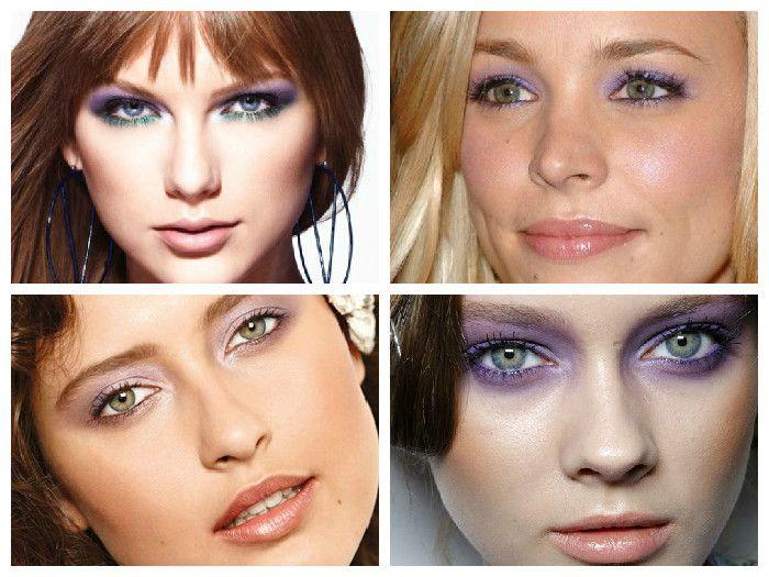 Новогодний макияж для зеленых глаз: фиолетовые тени
