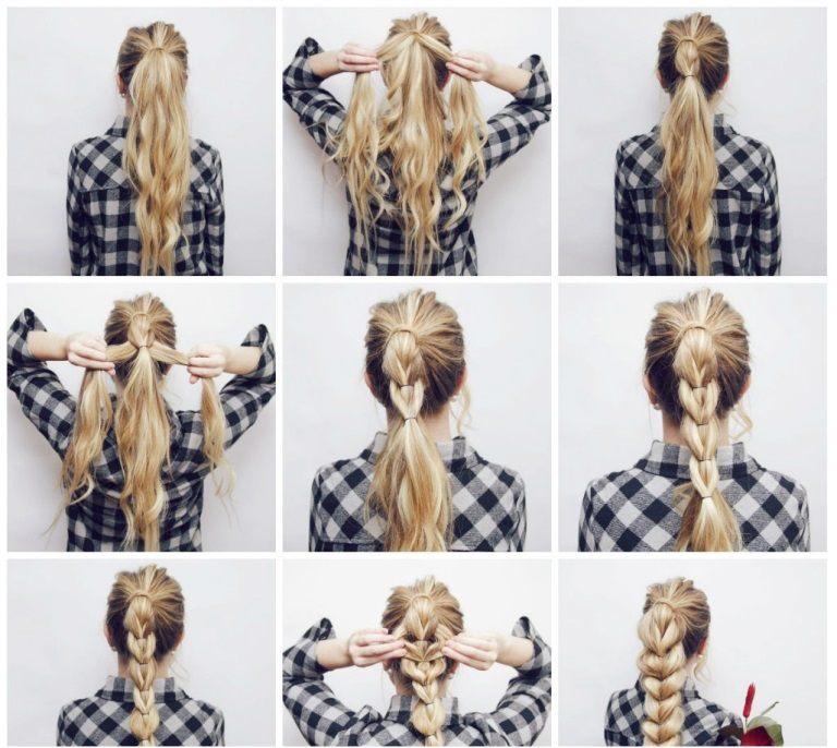 Коса с резинками пошагово