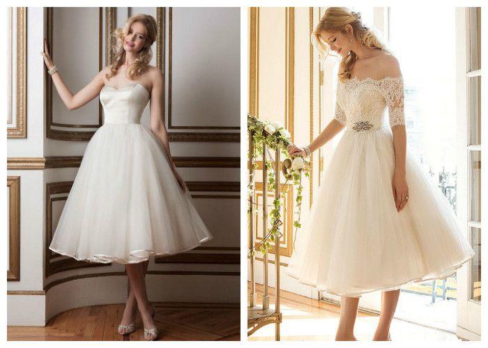 Красивые свадебные платья чайной длинны: Justin Alexander