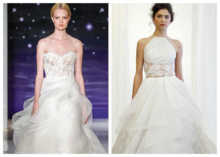 Свадебное платье с многоуровневой юбкой