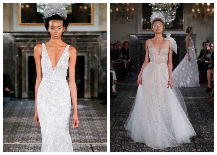 Свадебные платья с глубоким декольте
