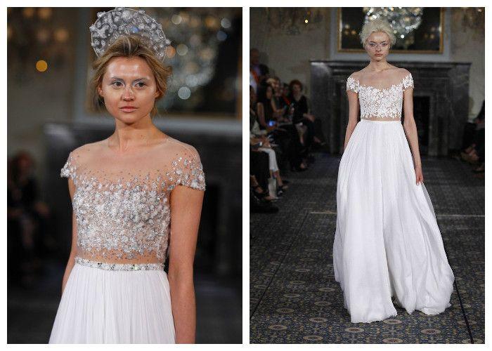 Свадебные платья с имитацией открытого декольте