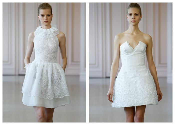 Короткие свадебные платья: Oscar de la Renta