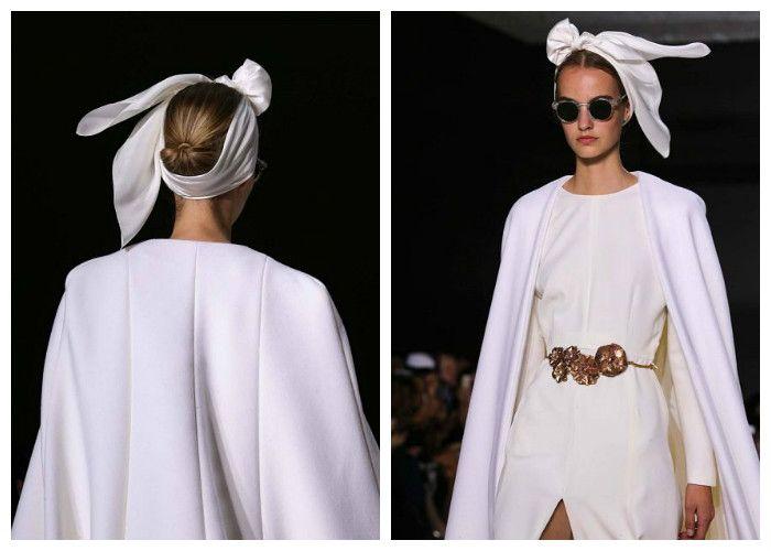 Прически на свадьбу 2017: платок в виде банта вместо традиционной фаты