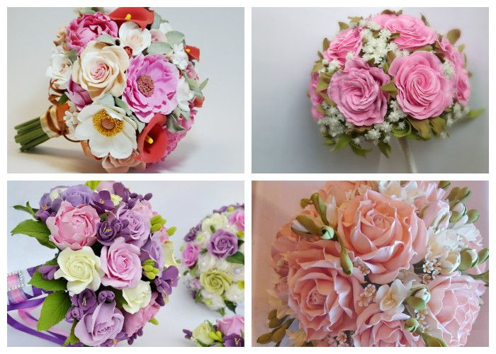 Букеты невесты из искусственных цветов (из фоамирана)