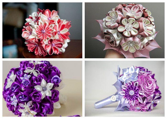 Букеты невесты из искусственных цветов (из атласных лент)