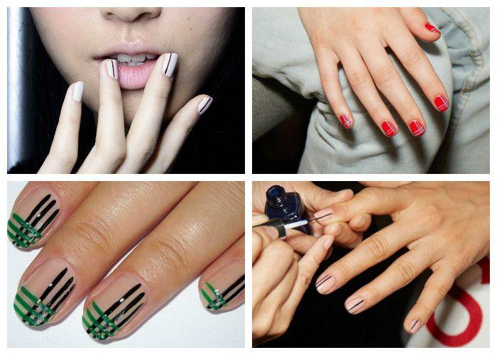 Дизайн ногтей: шеллак. Модные рисунки сезона: тонкие линии, сетка и клетка.
