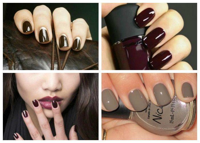 Дизайн ногтей: шеллак. Модные цвета сезона: бордовый и коричневый