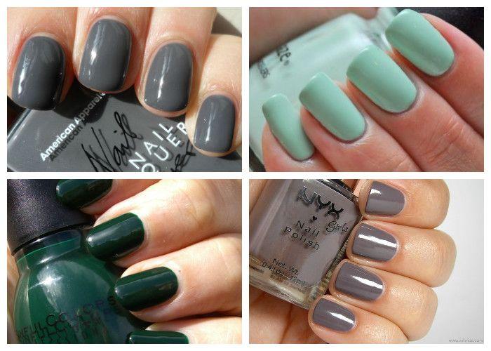 Дизайн ногтей: шеллак. Модные цвета сезона: темно-зеленый, серый, мятный