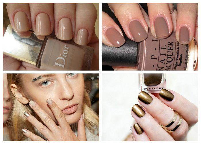 Дизайн ногтей: шеллак. Модные цвета сезона: бежевый, кофейный, бронзовый