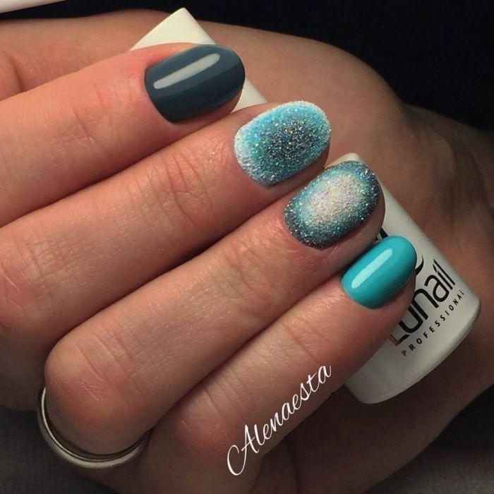 маникюр с песком для коротких ногтей