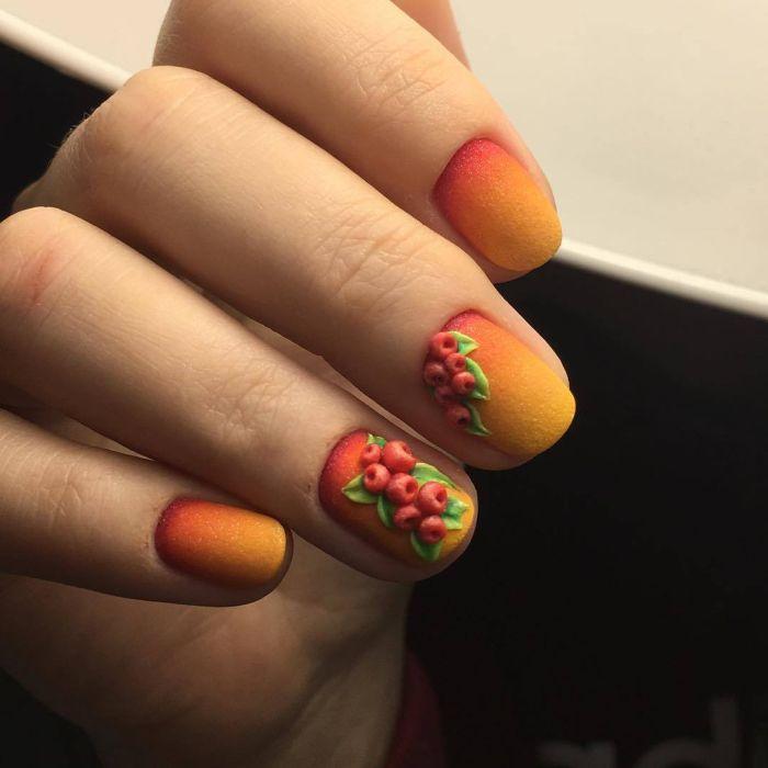 Оранжевый гель-лак на ногтях