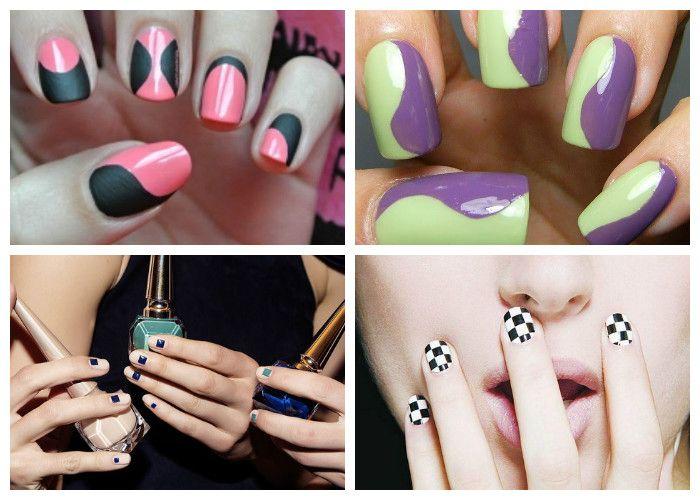 Маникюр на короткие ногти: модные рисунки, полосы, волны, геометрия (фото)