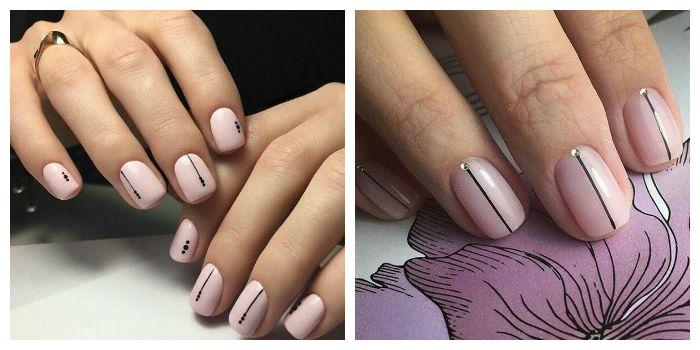 Маникюр с полосками на коротких ногтях