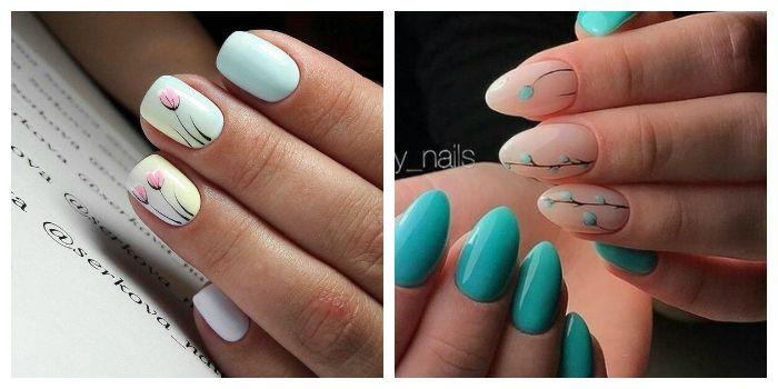 Веточки на коротких ногтях